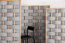 contemporary grey and orange interwoven soundproofing panels – just attach several screens on the wall