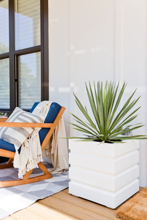 cool modern square planters with striped patterns are nice for any modern, contemporary or minimalist space