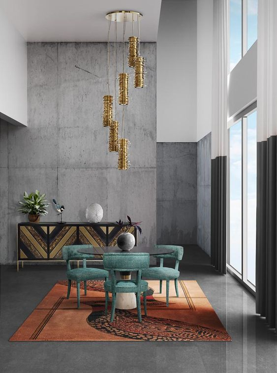 a rough concrete statement wall makes this colorful and refined space more contemporary and bold