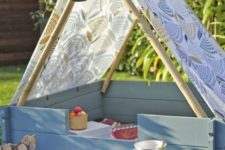 a small teepee is easy to construct, it can be a nap space, a picnic space or a reading zone