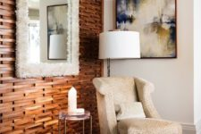 a stained wood slab accent wall will add coziness and chic and a matching floor highlights it even more