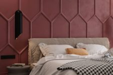 red 3D panels make a bold and chic statement with shapes and the color they add