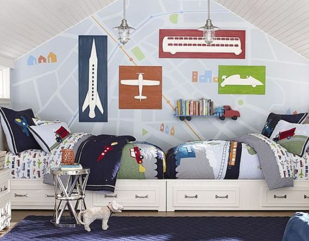 Shared boys rooms aren't that hard to design. Just make sure to buy the same beds for them.