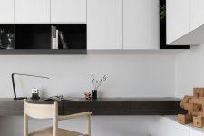 a stylish minimalist home office design in b&w