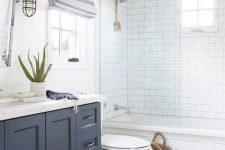 a stylish bathroom with hexagon tiles on a floor