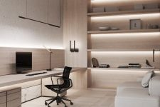 a luxurious minimalist home office with a sleek built-in desk with storage, a black chair, a neutral sofa and built-in shelves with lights is a cool space