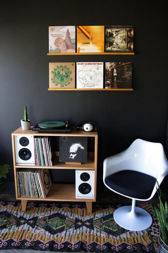 a nook for listening to vinyl with ledges that allow displaying favorites over the space