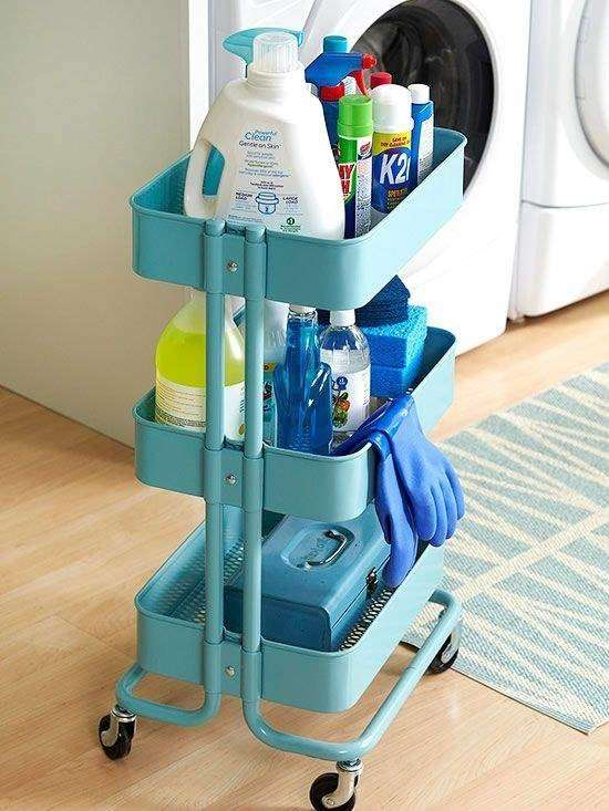 IKEA's cart is great to move your cleaning supplies around the house when you're having a cleaning day.