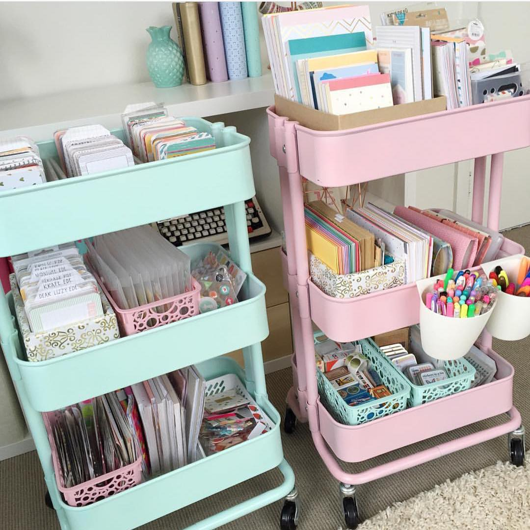 If you spray paint your carts into pastel mint and pastel pink colors you'll get yourself a nice storage combo for lots of stuff.