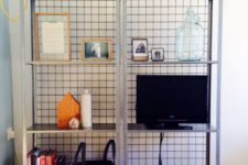 IKEA Hyllis shelves with wire mesh on the back prevents your objects from falling from the back