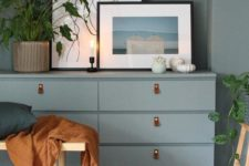 a blue Malm dresser hack with leather pulls is a gorgeous idea for a boho space