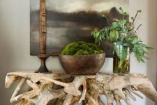 a bold and beautiful console table made of some driftwood looks absolutely unique and statement-like and will add a refined feel to the space