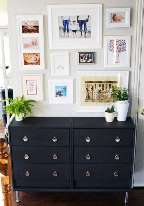 a chic contemporary Tarva hack in black, with neutral knobs and matching legs for a moody touch