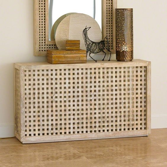 a console table made of an IKEA Hol table is a creative and cool idea that is easy to DIY