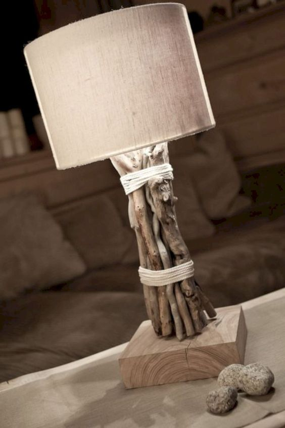 a cool table lamp of driftwood and a simple burlap lampshade is a lovely idea for a beachy or coastal interior