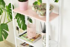 a cute Hyllis hack with white and pink parts is a very cool and soft pastel piece for your space