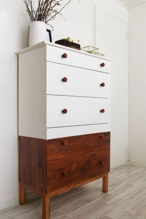 a half-stained and half painted white Tarva dresser with stained knobs is a stylish option with a rustic feel