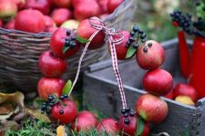 a natural and cute fall wreath of real apples and berries is a super cool idea that can be eaten one day