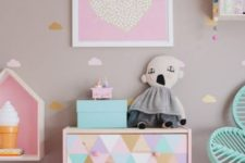 a pastel triangle stenciled Tarva dresser is a cute idea for a little girl's space