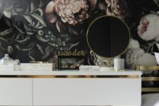 a white Malm dresser hack with some metallic contact paper – this is a chic minimalist hack