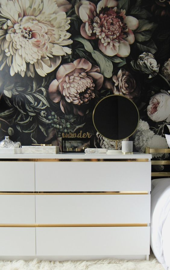 a white Malm dresser hack with some metallic contact paper - this is a chic minimalist hack