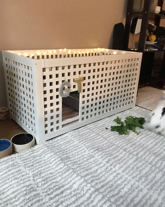 an IKEA Hol table turned into a bunny retreat with some lights and monograms is a cute hack
