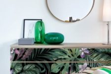 an IKEA Malm dresser hack with moody tropical decals is a cool way to add a touch of trendy tropical decor