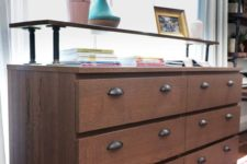 an IKEA Malm hack with dark stain, vintage handles and an additional raised countertop