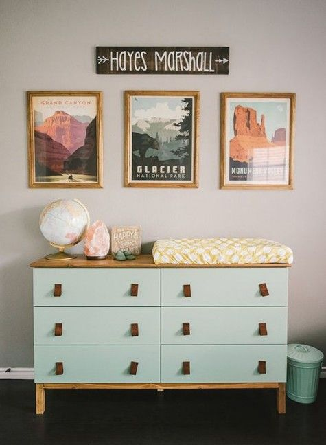 an IKEA Tarva dresser hack with mint paint, wooden legs and a countertop and leather pulls