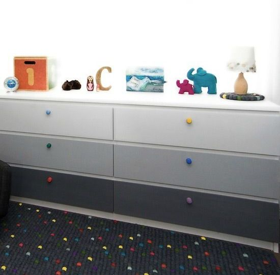 an ombre IKEA Malm dresser hack from dove grey to asphalt grey and colorful knobs is great for a kid's room
