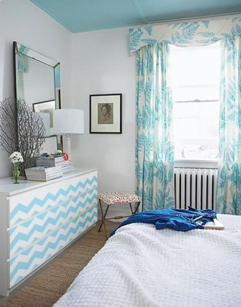 hack your Malm dresser with turquoise chevron decals or stencils and paints