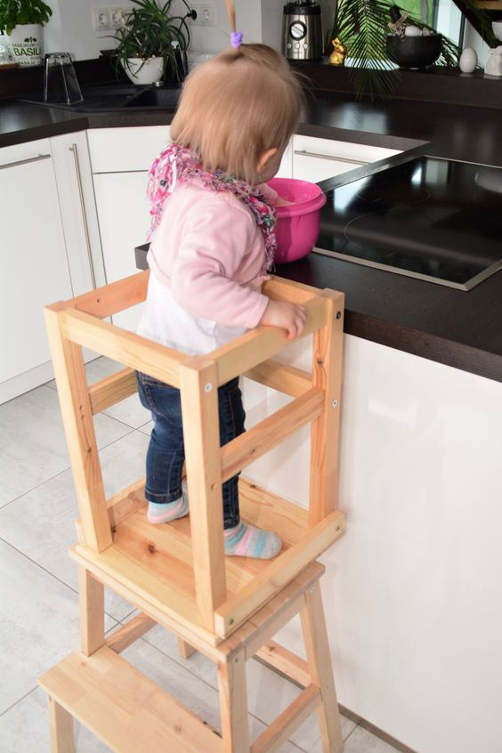 make up a cool kids' staircase of an IKEA Oddvar and Bekvam stool easily - just stack them and attach to each other