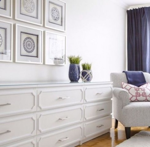 several Malm dressers with trims and white handles for a modern farmhouse space