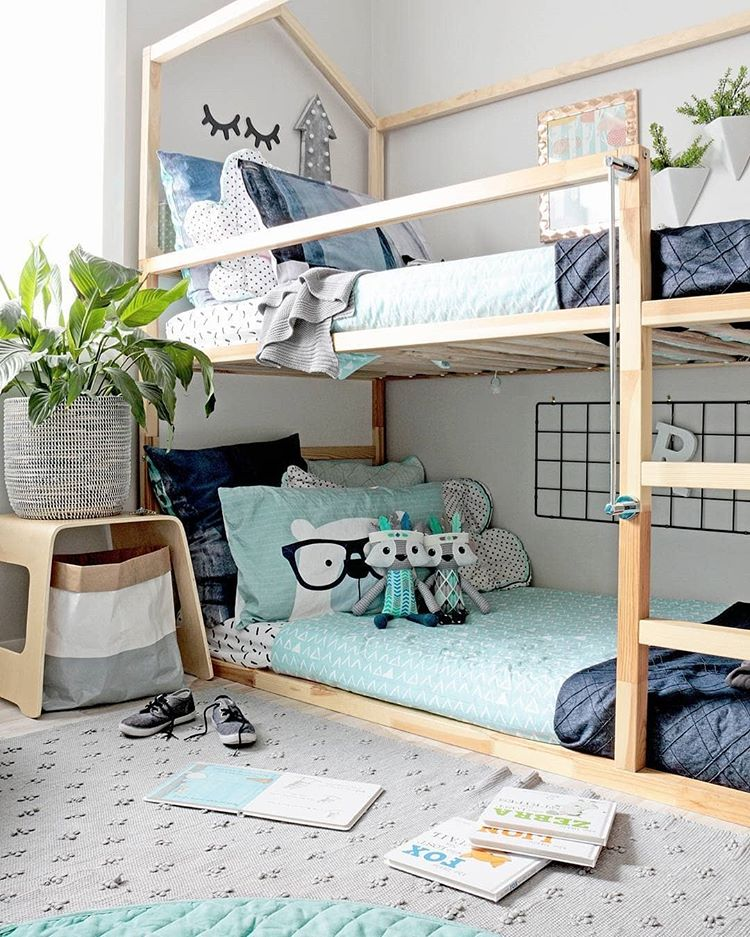 shared boys bedroom with a bunk bed