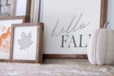 a contemporary fall sign with plaid and a duo of signs with a leaf and a pumpkin