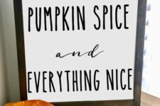 a laconic fall sign in a stained frame and with black letters for outdoor or indoor fall decor