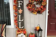 cool porch decor for fall with leaves