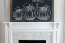 an oversized chalkboard pumpkin sign – chalk some pumpkins on it or whatever else you like