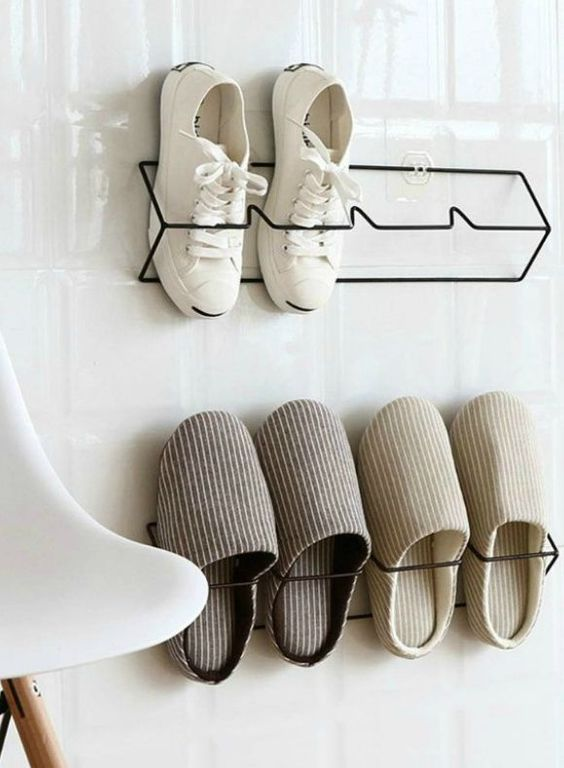 simple and comfortable wire shoe organizers that can be attached to closet doors or walls in an entryway