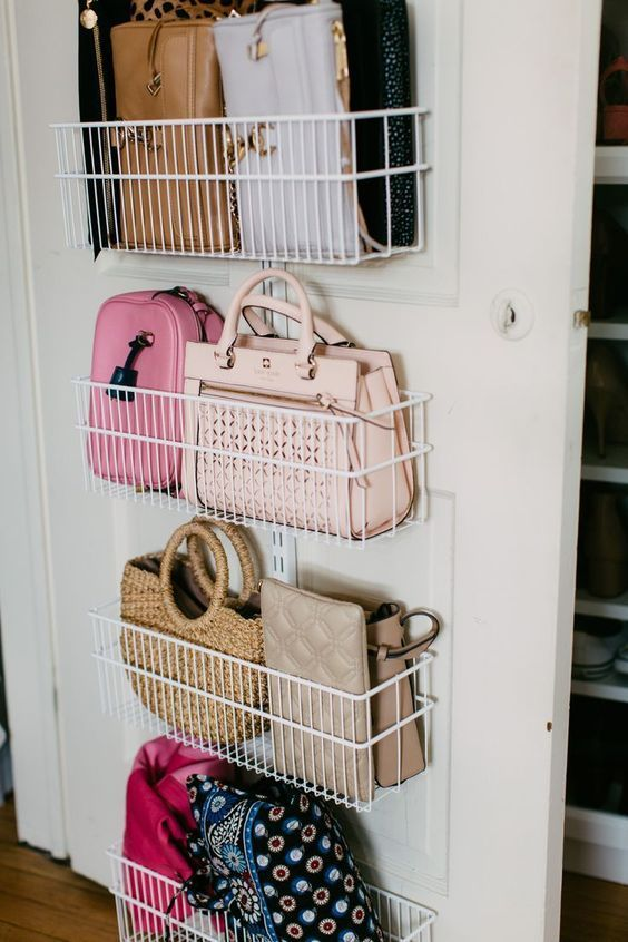 wire shelves attached to the door are a stylish idea to store your bags, shoes or some other stuff
