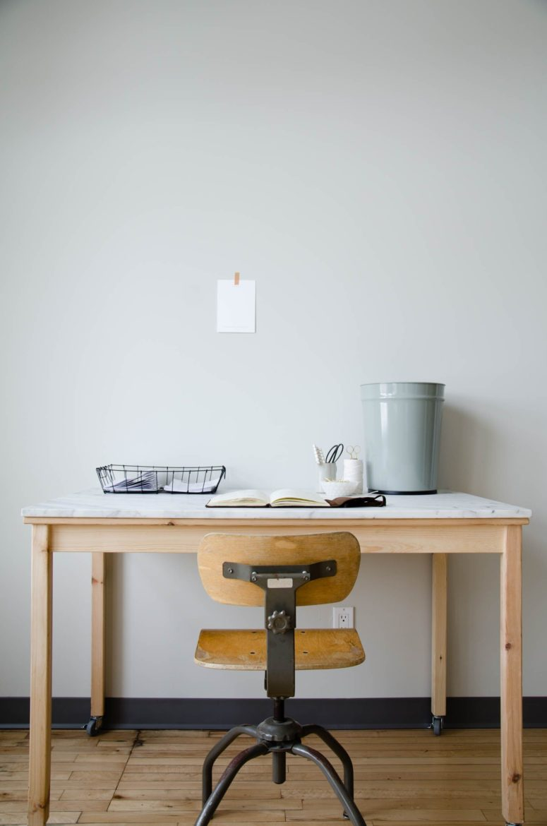 Custom marble tabletop and casters is one of those upgrades that would turn the INGO table into a luxorious piece that is perfect for organizing a workspace in a small apartment.
