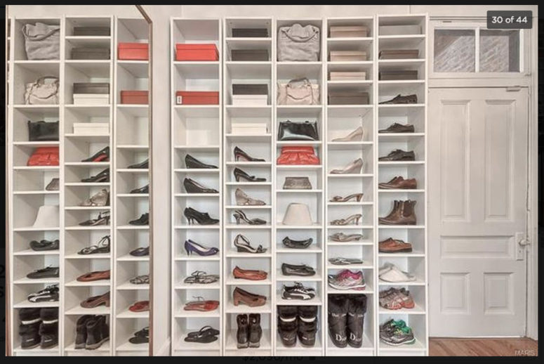 Mix IKEA Pax units with BILLLY bookshelves to make design a perfect dressing room. You'll get as much shoe storage as any girl would want to.
