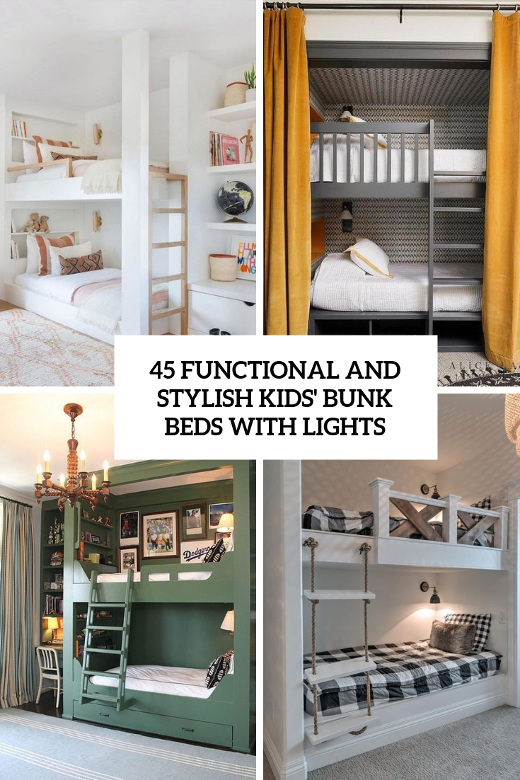 functional and stylish kids' bunk beds with lights cover