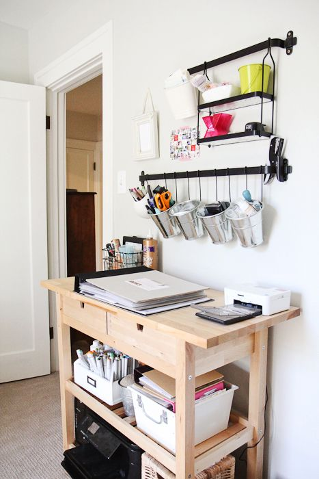 a home workspace or bill paying space done with an IKEA Forhoja cart, some shelves and railings
