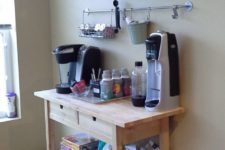 a morning beverage bar made of an IKEA Forhoja cart with plenty of storage and lots of stuff for favorite drinks