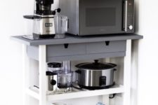 a stylish IKEA Forhoja cart hacked with grey and white paint, used for storage and for cooking stuff here