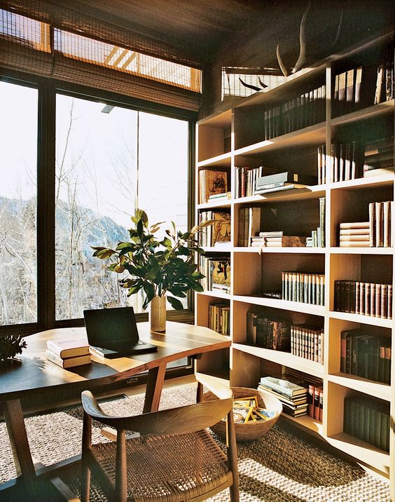 a super stylish modern home library with a cool bookshelf unit, a wooden desk and a whimsy chair plus a gorgeous view