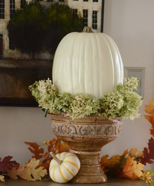 a white pumpkin and green hydrangeas in a porcelain urn as a stand for decorating for the fall in vintage style