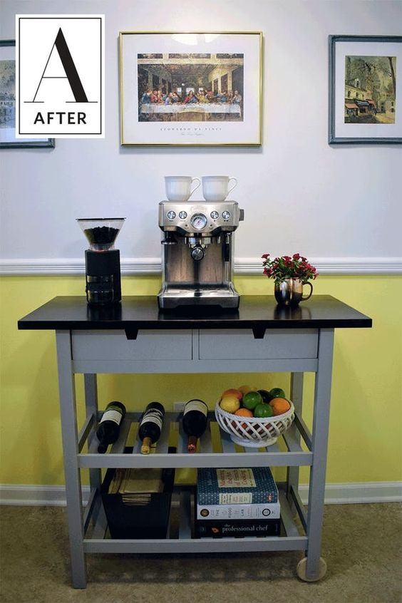 an IKEA Forhoja bar for your home - a cart hacked with grey paint and a black countertop, with all the necessary things