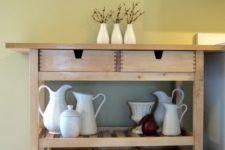 an IKEA Forhoja cart finished with baskets is a cool rustic piece for your home – for storage and not only